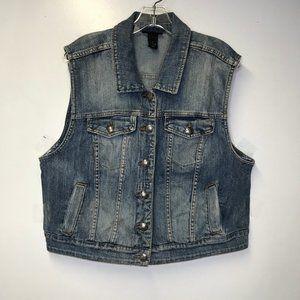Lane Bryant 18 medium wash denim button front vest